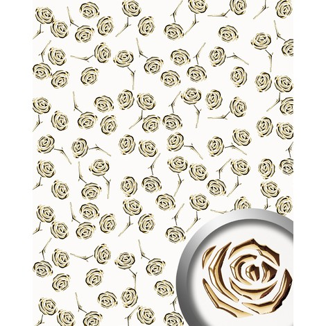 WallFace 16444 3D ROSE Wall panel punched flower decor metal look wallcovering self-adhesive gold pearlwhite | 2.60 sqm