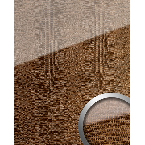 WallFace 16981 LEGUAN Wall panel self-adhesive Glass look Luxury Panel resistant to abrasion copper brown | 2.60 sqm