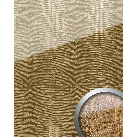 WallFace 16982 LEGUAN Wall panel self-adhesive Glass look Luxury Panel resistant to abrasion gold brown | 2.60 sqm