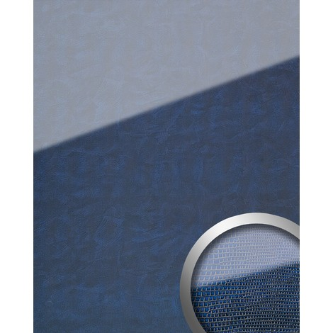 WallFace 16984 LEGUAN Wall panel self-adhesive Glass look Luxury Panel resistant to abrasion dark blue | 2.60 sqm