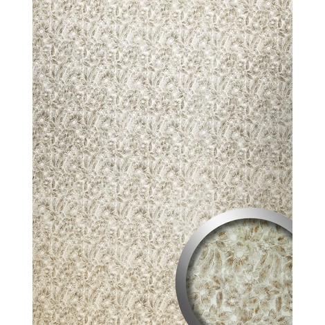 WallFace 17036 DECO FLEUR Wall panel self-adhesive Flowers decor Luxury wallcovering Panel silver brown | 2.60 sqm