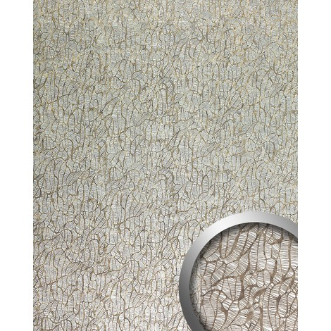 WallFace 17037 DECO MONSOON Wall panel self-adhesive abstract design Luxury wallcovering Plate silver brown | 2.60 sqm