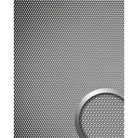 WallFace 17239 RACE Wall panel self-adhesive embossed 3D round decor structure wallcovering silver grey shiny | 2.60 sqm