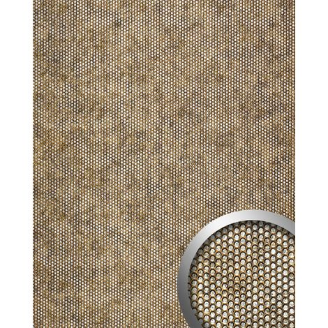 WallFace 17241 RACE Wall panel self-adhesive embossed 3D round decor structure wallcovering brown silver | 2.60 sqm