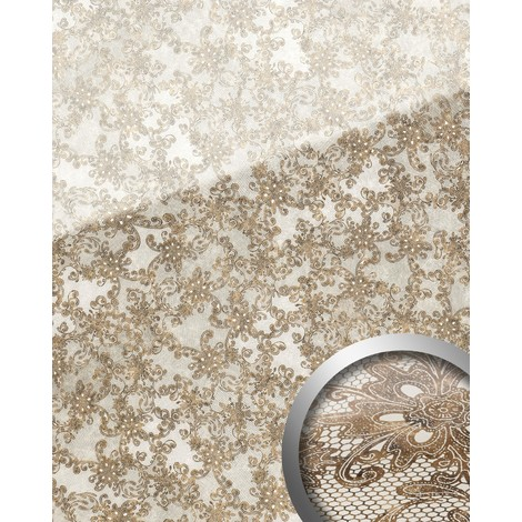 WallFace 17839 LACE Wall panel self-adhesive Glass look french lace Panel resistant to abrasion white brown | 2.60 sqm