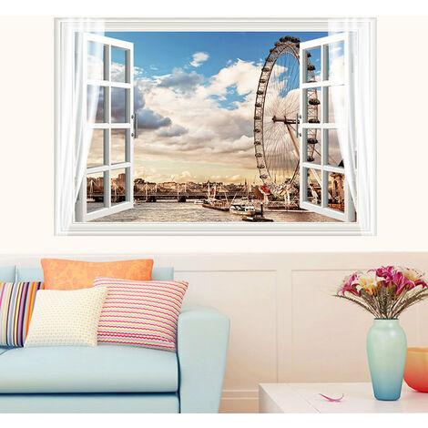 "main image of ""Walling Wallpaper Sea Window 60 * 90cm Glue Included Stock Photo Wall Dune 3D Beach Beach Sea Bedroom Kids Wallpaper"""