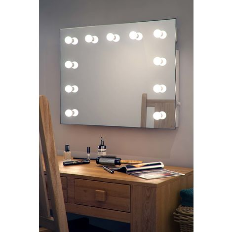 Wallmount Hollywood Makeup Mirror with Warm White Dimmable LED k95WW