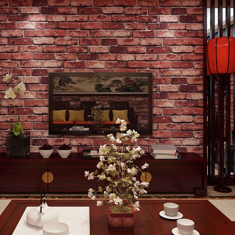 Wallpaper Bricks Slate Textured Rustic 3D Effect Red Brick Tones Wall Paper