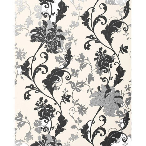 Wallpaper flowers EDEM 833-20 luxury floral design flowers leaves floral wallcovering black white silver cream 2.3 ft