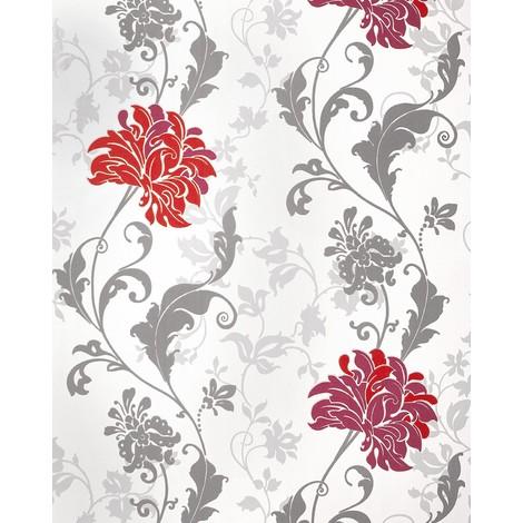 Wallpaper flowers EDEM 833-25 luxury floral design flowers leaves floral wallcovering red bordeaux grey white 2.3 ft