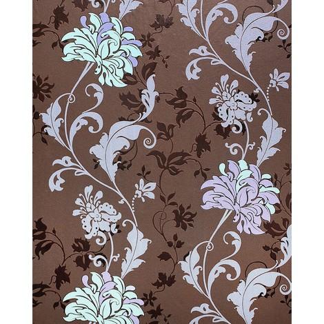 Wallpaper flowers EDEM 833-26 luxury floral design flowers leaves floral wallcovering brown lilac violet mint 2.3 ft