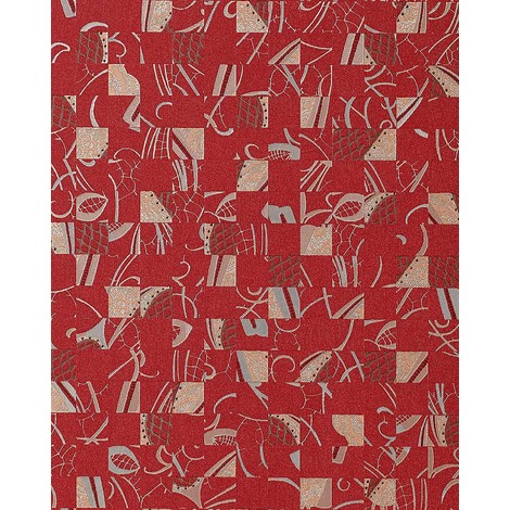 Wallpaper wall abstract collage EDEM 745-25 mystic art style embossed quality red silver platin 5.33 sqm (57 sq ft)