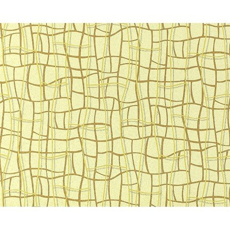 Wallpaper wall abstract net texture 3D non-woven EDEM 972-31 curved lines yellow olive brown 10.65 sqm (114 sq ft)