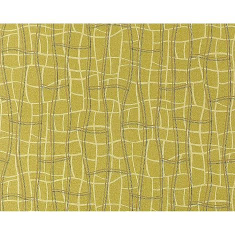 Wallpaper wall abstract net texture 3D non-woven luxury EDEM 972-38 curved lines mustard green gold 10.65 sqm (114 sq ft)
