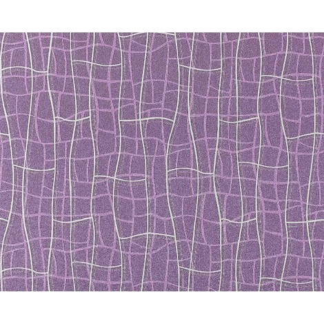 Wallpaper wall abstract net texture 3D non-woven luxury EDEM 972-39 curved lines violet lilac silver 10.65 sqm (114 sq ft)