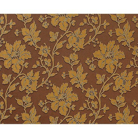 Wallpaper wall art textured floral non-woven 3D flower EDEM 979-36 deco brown gold 10.65 sqm (114 sq ft)