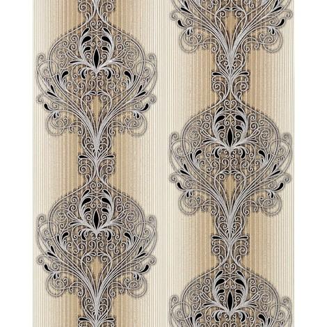 Wallpaper wall baroque damask EDEM 096-23 modern opulent ornament brown beige silver black 5.33 sqm (57 sq ft)