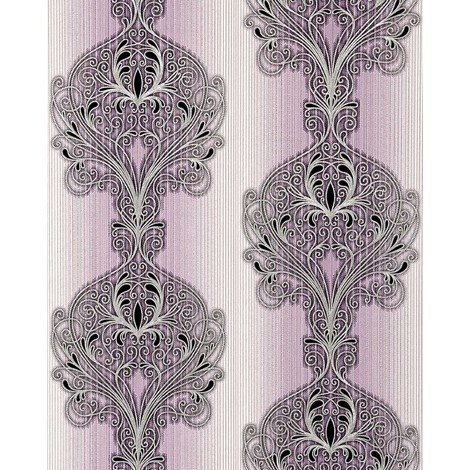 Wallpaper wall baroque damask EDEM 096-24 modern opulent ornament lilac white silver black 5.33 sqm (57 sq ft)