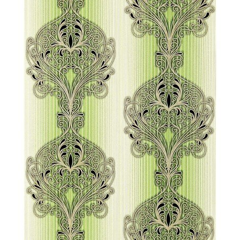 Wallpaper wall baroque damask EDEM 096-25 modern opulent ornament green white silver black 5.33 sqm (57 sq ft)