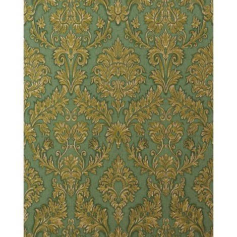 Wallpaper wall baroque damask EDEM 708-38 embossed heavy-weight vinyl gold green platin 5.33 sqm (57 sqft)
