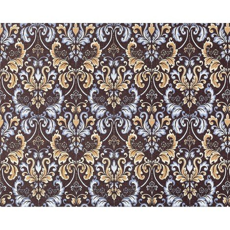 Wallpaper wall baroque royal damask EDEM 966-26 heavy-weight non-woven choco brown lilac blue 26.50 sqm (285 sq ft)