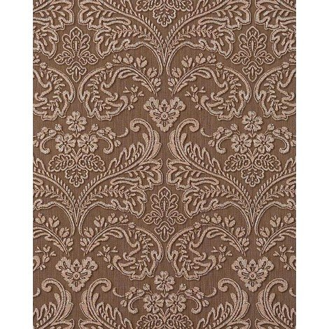 Wallpaper wall baroque stripe EDEM 755-25 deluxe heavy-weight vinyl wallpaper wall baroque damask nut-brown platin 5.33 sqm (57 sq ft)