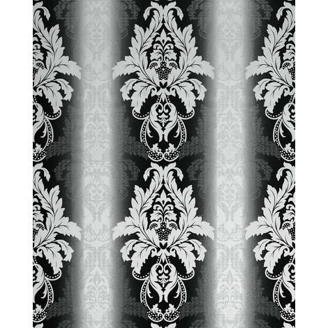 Wallpaper wall damask barock ornanment EDEM 770-30 embossed heavyweight wallpaper wall black white 5.33 sqm (57 sq ft)