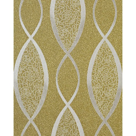 Wallpaper wall fashion stripes curved lines retro 70s style textured EDEM 1018-15 vinyl olive green silver