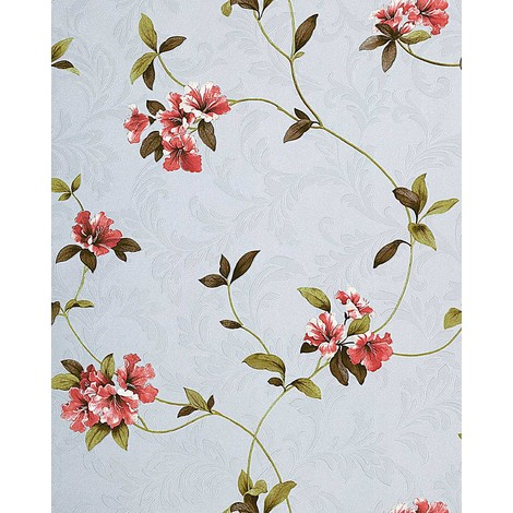Wallpaper wall floral EDEM 761-25 luxury embossed flowers light violet lilac red green brown 5.33 sqm (57 sq ft)