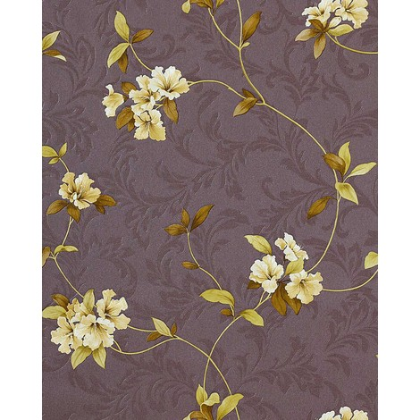 Wallpaper wall floral EDEM 761-26 embossed flowers taupe grey-brown green-yellow olive 5.33 sqm (57 sq ft)