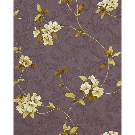 Wallpaper wall floral EDEM 761-26 luxury embossed flowers taupe grey-brown green-yellow olive 5.33 sqm (57 sq ft)
