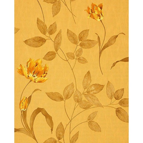 Wallpaper wall floral EDEM 769-32 embossed flowers fabric look ochre-yellow gold-yellow olive 5.33 sqm (57 sq ft)