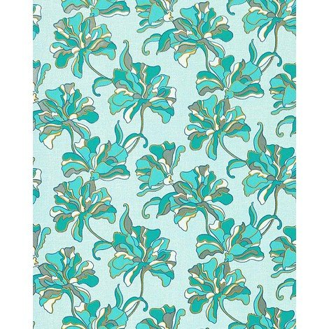 Wallpaper wall floral flowers textured EDEM 072-22 vinyl wallpaper wall turquoise blue white yellow 5.33 sqm (57 sq ft)
