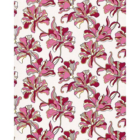 Wallpaper wall floral flowers textured EDEM 072-24 vinyl wallpaper wall cream pink red-violet white 5.33 sqm (57 sq ft)
