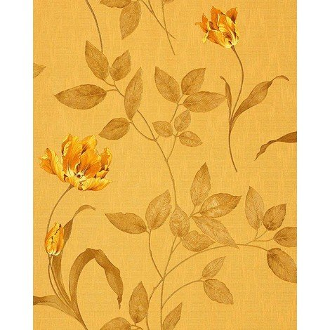 Wallpaper wall floral luxury EDEM 769-32 embossed flowers fabric look ochre-yellow gold-yellow olive 5.33 sqm (57 sq ft)