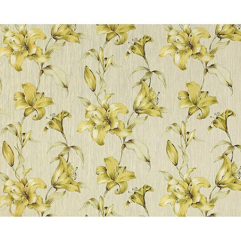 Wallpaper wall floral luxury lily flower EDEM 978-32 textured non-woven light green apple-green 10.65 sqm (114 sq ft)