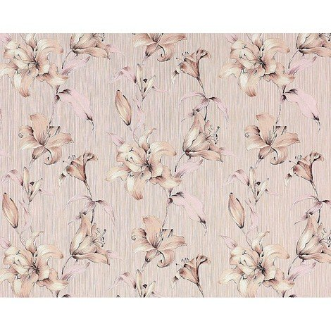 Wallpaper wall floral luxury lily flower EDEM 978-33 textured non-woven dusky pink pastel rose beige 10.65 sqm (114 sq ft)
