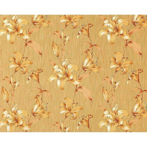 Wallpaper wall floral luxury lily flower EDEM 978-36 textured non-woven goldbeige caramel-brown gold 10.65 sqm (114 sq ft)
