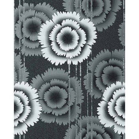 Wallpaper wall floral retro 70s style flowers EDEM 056-20 vinyl wallpaper wall black white anthracite 5.33 sqm (57 sq ft)