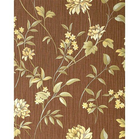 Wallpaper wall flower EDEM 751-35 deluxe embossed heavy-weight vinyl chocolate-brown olive 57 sq ft