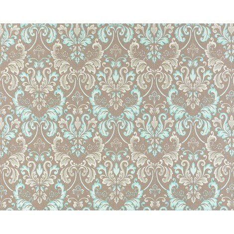 Wallpaper wall luxury baroque royal damask EDEM 966-25 heavy-weight non-woven taupe turquoise blue 26.50 sqm (285 sq ft)