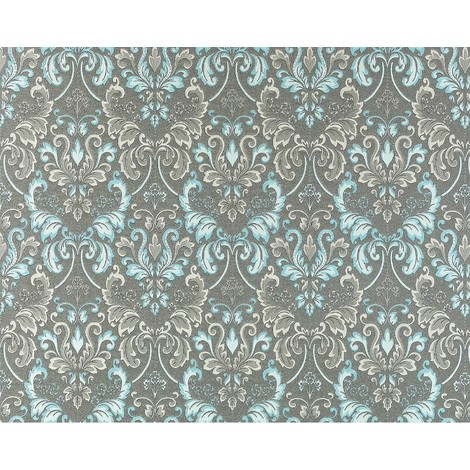 Wallpaper wall luxury baroque royal damask EDEM 966-27 heavy-weight non-woven gray brown turquoise blue 26.50 sqm (285 sq ft)