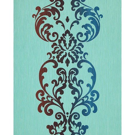 Wallpaper wall modern art baroque ornament EDEM 178-26 turquoise blue brown red 5.33sqm (57sq ft)