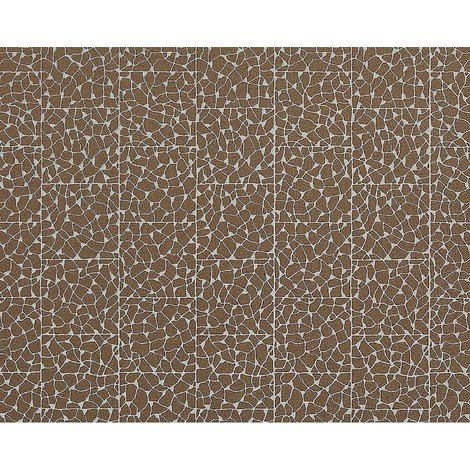 Wallpaper wall mosaic EDEM 928-36 embossed non-woven tile cacao-brown silver 10.65 sqm (114 sq ft)