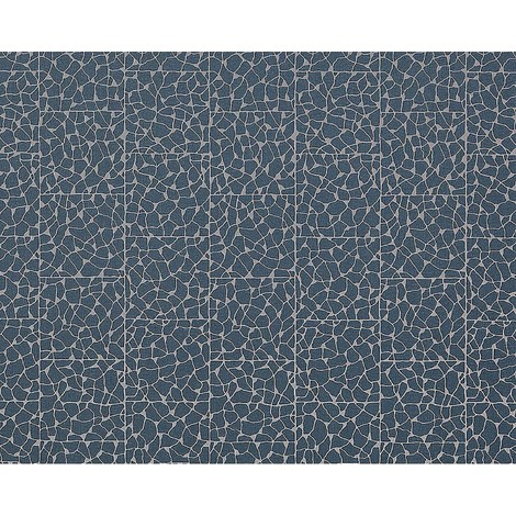 Wallpaper wall mosaic EDEM 928-37 embossed non-woven stone look blue silver 10.65 sqm (114 sq ft)