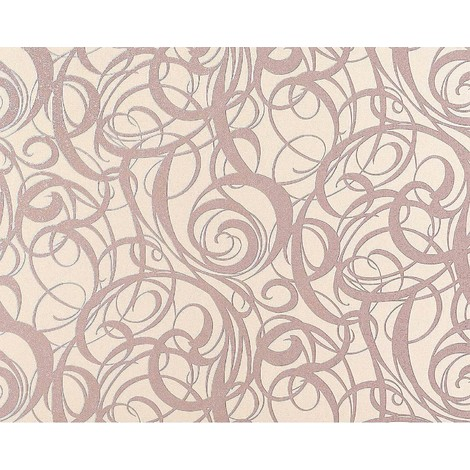 Wallpaper wall non-woven curved lines swirl pattern EDEM 971-33 luxury textured pastel rose 10.65 sqm (114 sq ft) XXL