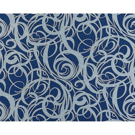 Wallpaper wall non-woven curved lines swirl pattern EDEM 971-37 luxury textured blue silver-grey 10.65 sqm (114 sq ft) XXL