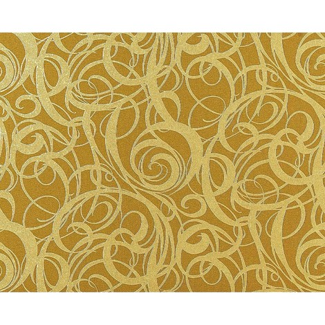 Wallpaper wall non-woven curved lines swirl pattern EDEM 971-38 textured olive-green gold 10.65 sqm (114 sq ft) XXL
