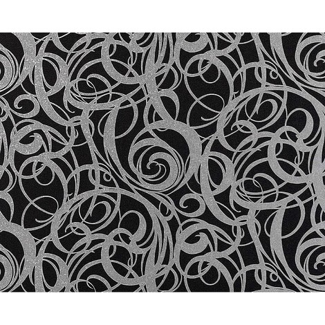 Wallpaper wall non-woven curved lines swirl pattern EDEM 971-39 luxury textured black silver-grey 10,65 sqm (114 sq ft) XXL