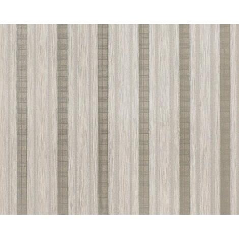 Wallpaper wall non-woven EDEM 640-93 XXL textured stripe curtain look beige taupe silver 10.65 sqm (114 sq ft)
